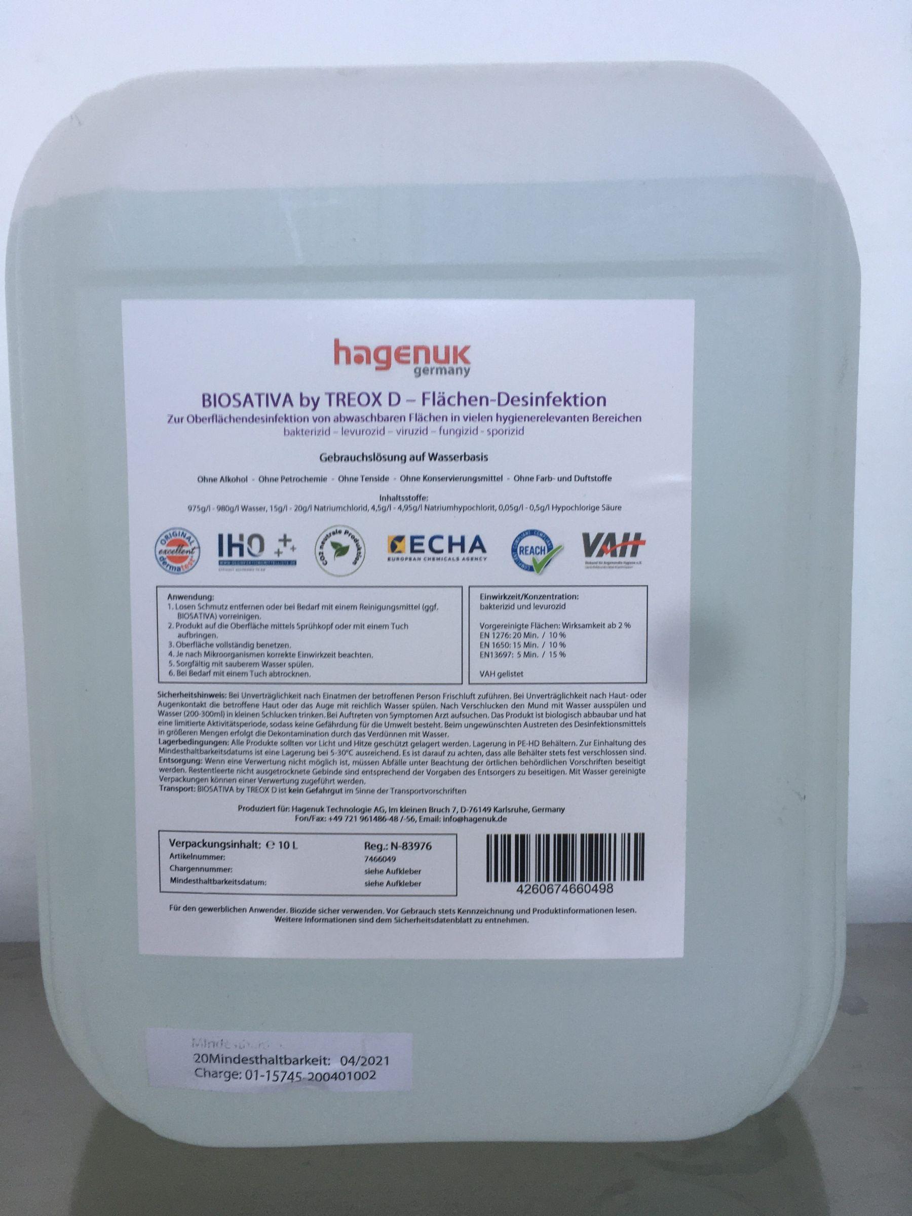 Biosativa by Treox D disinfettante superfici1